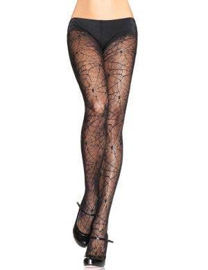 Spiderweb Full Length Black Halloween Costume Stockings