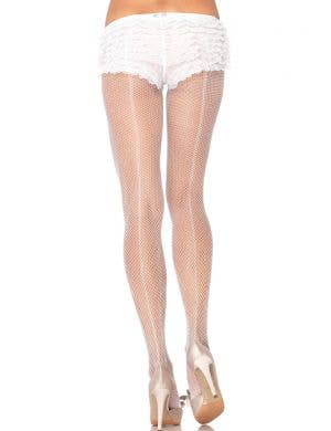 Fishnet Back Seam Sexy Pantyhose - White