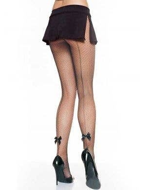 Black Fishnet Stockings with Backseam and Bows Front View