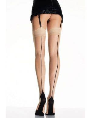 Beige Thigh High Costume Stockings With Black Cuban Heel
