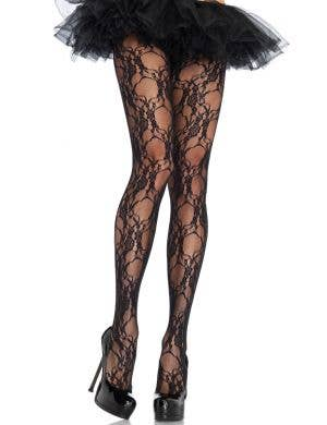 Leg Avenue Ladies Floral Lace Black Full Length Stockings