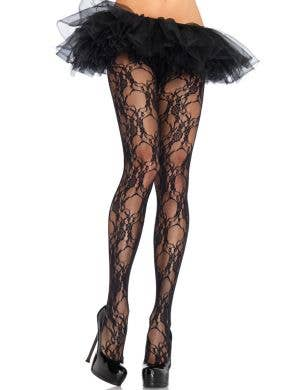 Plus Size Leg Avenue Ladies Floral Lace Black Full Length Stockings