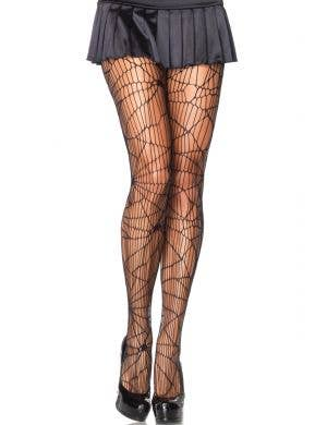 Distressed Net Black Halloween Stockings for Women