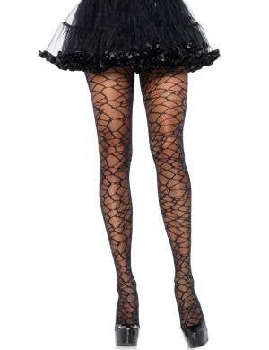 Leg Avenue Women's Sheer Crackle Print Full Length Woven Halloween Stockings