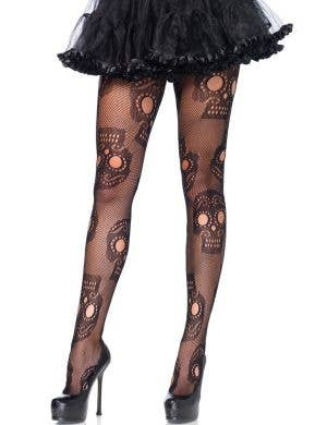 Plus Size Womens Day of the Dead Sugar Skull Black Netted Stockings