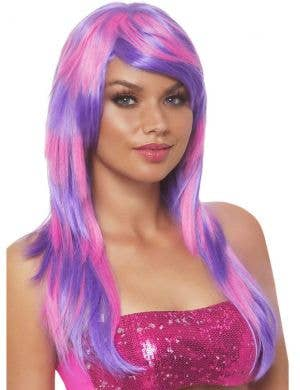 Women's Pink and Purple Striped Cheshire Cat Wig
