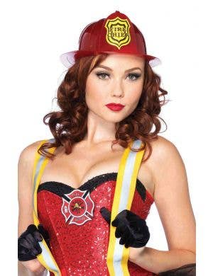 Women's Deluxe Red Firefighter Costume Hat Main Image