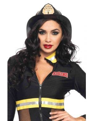 Women's Deluxe Black Firefighter Costume Hat Main Image