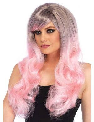 Long Wavy Pink Ombre Women's Costume Wig