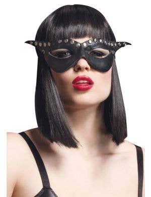 Studded Black Leather Look Costume Mask