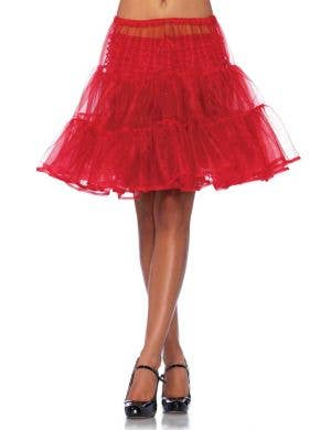 Women's Red Ruffled Knee Length Costume Petticoat