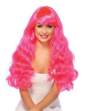 Magenta Pink Women's Long Wavy Costume Wig