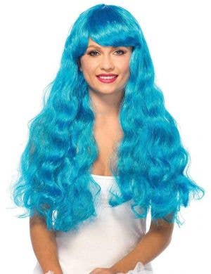 Long Blue Deluxe Women's Curly Costume WIg