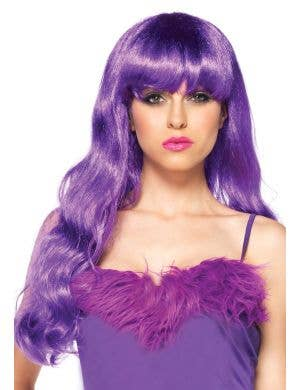 Long Purple Deluxe Women's Curly Costume Wig