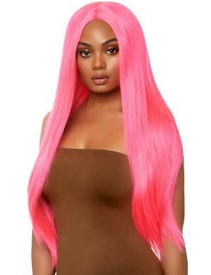 Long Straight Centre Part Hot Pink 83cm Women's Wig