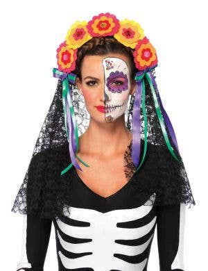 Sugar Skull Women's Day of The Dead Headpiece