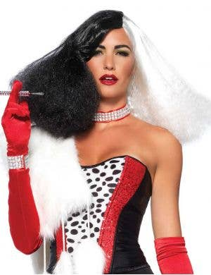 Half Black Half White Cruella De Vil Costume Wig for Women
