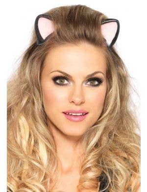 Black Latex Kitty Cat Fancy Dress Costume Ears