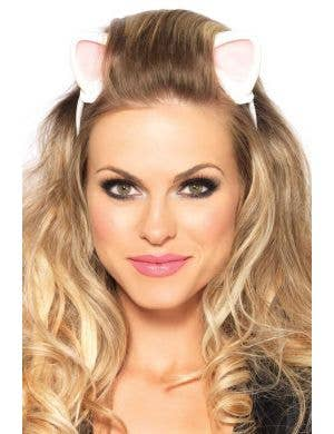 White Latex Kitty Cat Fancy Dress Costume Ears