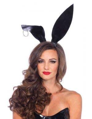 Black Wet Look Pierced Bunny Ears Main Image