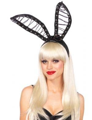 Wet Look Lace Up Bunny Ears Costume Accessory