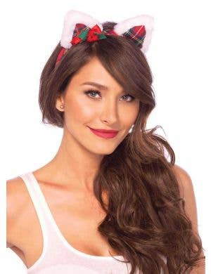 Red Tartan Cat Ears on Headband Christmas Costume Accessory