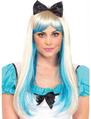 Long Straight Blonde and Blue Women's Costume Wig