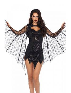Extendable Lace Bat Wing Shrug Costume Accessory