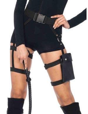 Strappy Black Garter Utility Belt Costume Accessory