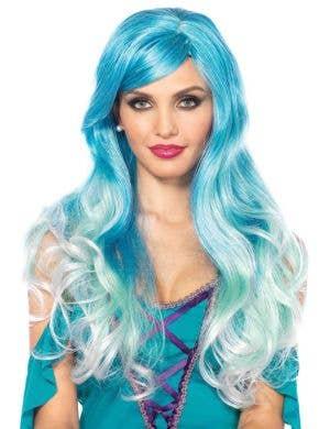 Women's Blue Ombre Wavy Mermaid Costume Wig