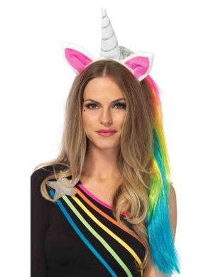 Unicorn Horn on Headband with Rainbow Hair Mane