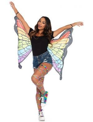 Women's Rainbow Butterfly Fabric Wings Costume Accessory