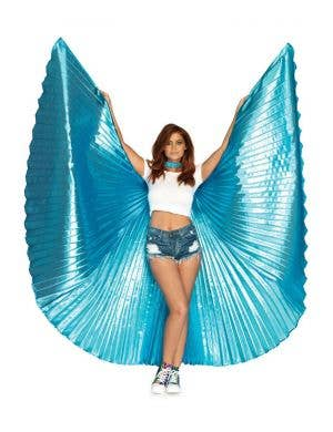 Pleated Blue Isis Wings Festival Costume Accessory