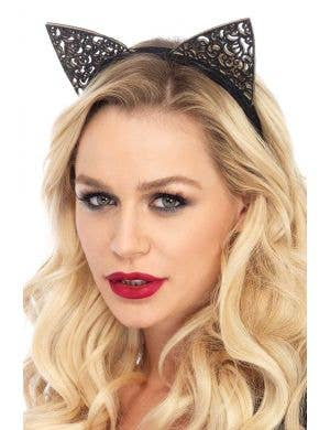 Women's Black Glitter Filigree Cat Costume Accessory Ears