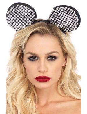 Studded Women's Black and Silver Mouse Ears Costume Accessory