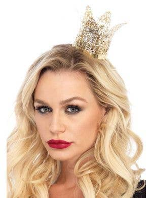 Mini Gold Metal Filigree Women's Crown Costume Accessory