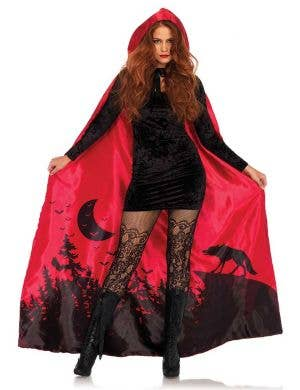 Women's Red Satin Red Riding Hood Fairytale Costume Cape