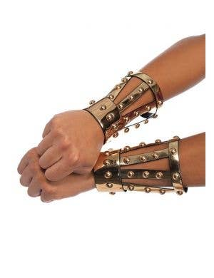 Gold Chrome Gladiator Warrior Wrist Cuffs with Studs