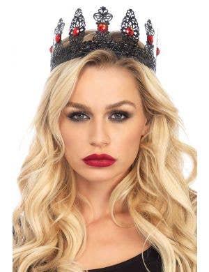 Black Metal Filigree Women's Crown with Red Jewels