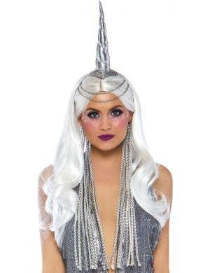 Metallic Silver Unicorn Horn Headband Costume Accessory