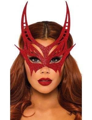 Glitter Red Devil Women's Masquerade Mask Costume Accessory