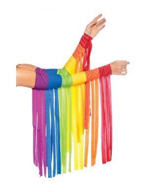 Rainbow Fringe Arm Pieces Costume Accessory