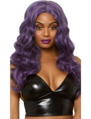 Mermaid Wave Long Purple Women's Costume Wig