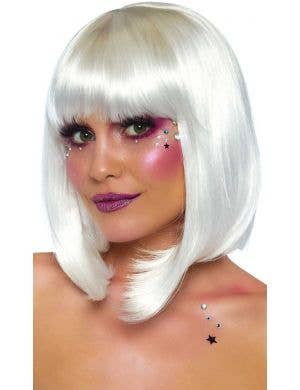 Deluxe Pearl White Natural Bob Women's Costume Wig