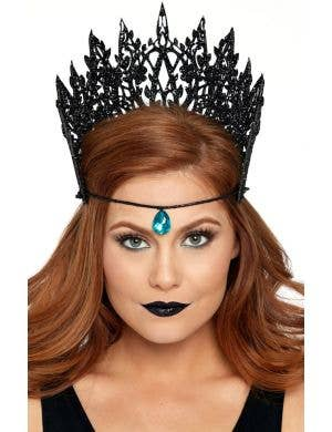 Dark Queen Glitter Black Crown With Jewel Accent Costume Accessory