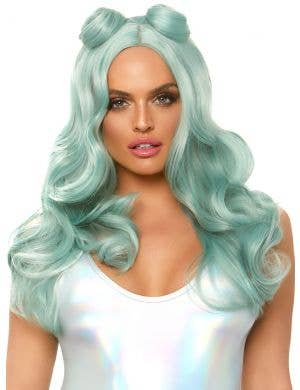 Space Buns Women's Teal Green Wavy Costume Wig