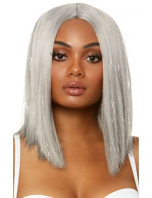 Short Silver Tinsel Highlight Women's Deluxe Wig