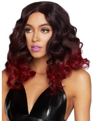 Curly Women's Burgundy Ombre Bob Costume Wig