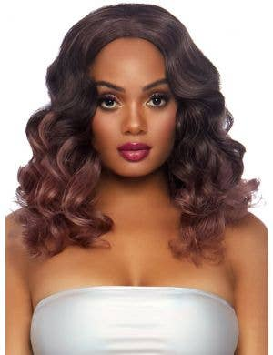Curly Women's Brown and Pink Ombre Costume Wig