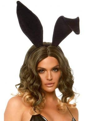 Velvet Black Bendable Bunny Costume Ears